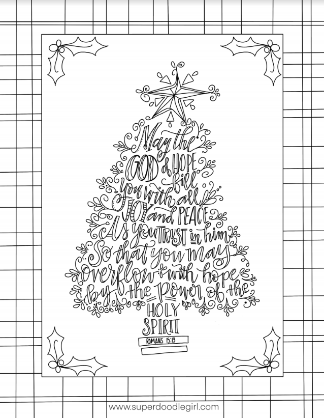 May the God of Hope from Romans 15:13 in the shape of a Christmas tree.